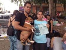 Feira de Doação de Animais realizada aos sábados na Praça do Bosque. Na foto a nova família do Baixinho.